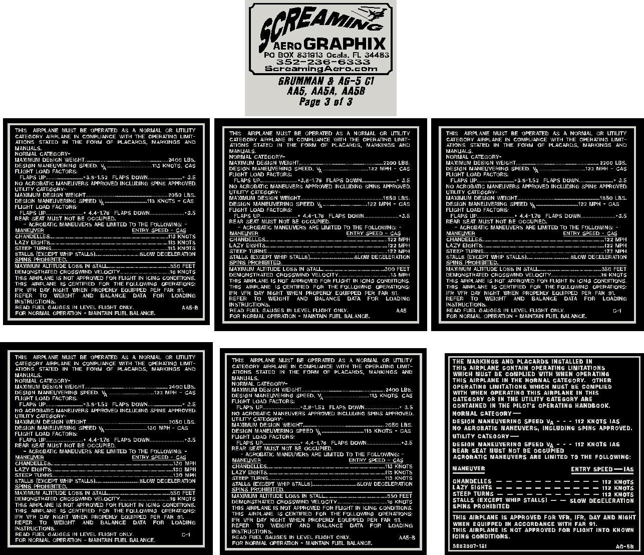 Grumman AA5-AA5A-AA5B C1 Interior Placard Kit