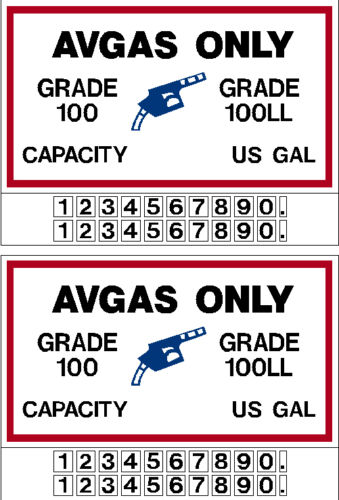PAIR AVGAS ONLY 100/100LL Fuel Placard With Quantities