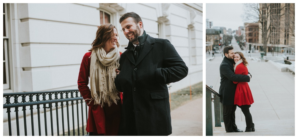 downtown madison winter engagement session