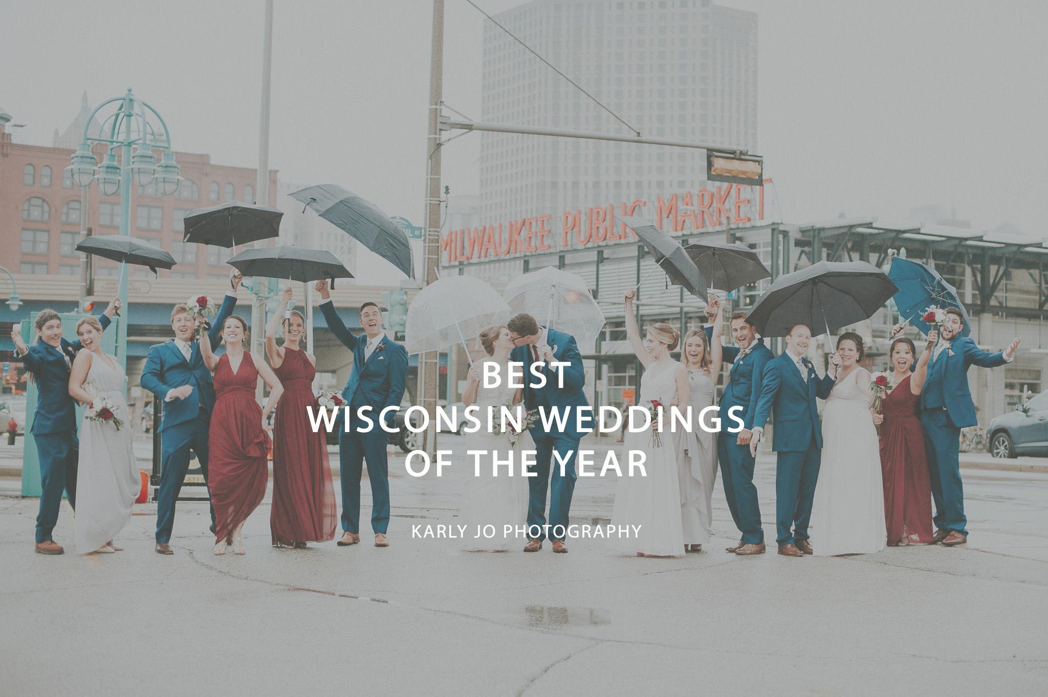 Wedding Party in the Rain Milwuakee Public Market