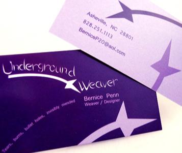 Business Card design by Gary Crossey aka IrishGuy. Graphic design services were for Asheville Underground Weaver.