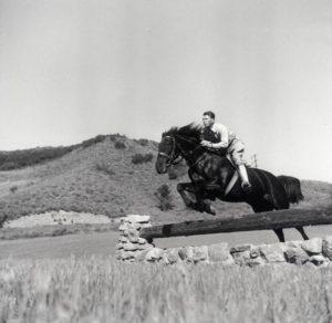 """1950s Ronald Reagan jumping his horse """"Tar Baby"""" at Malibu Canyon Ranch """"Yearling Row"""""""