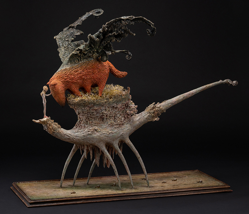 surreal figurative dragon sculpture by Akishi Ueda