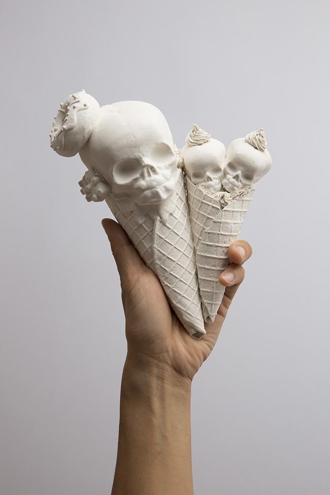 """Sculpture by Jacqueline Tse. """"Double Cone"""", Porcelain, 6"""" x 6"""" x 4"""""""