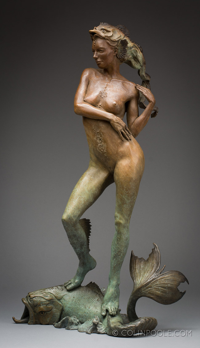 """Bronze sculpture by Colin Poole. """"Wind in the Waves"""", Bronze, 22"""" x 12"""" x 8"""""""