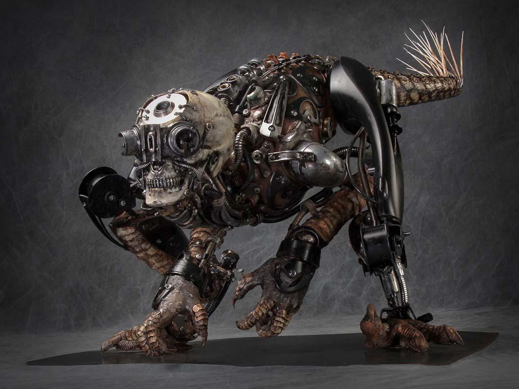 """Sculpture by Dan Chudzinski. """"The Ripper"""", Steel, resin, epoxy, plastic, mixed media, 26"""" x 23"""" x 52"""""""