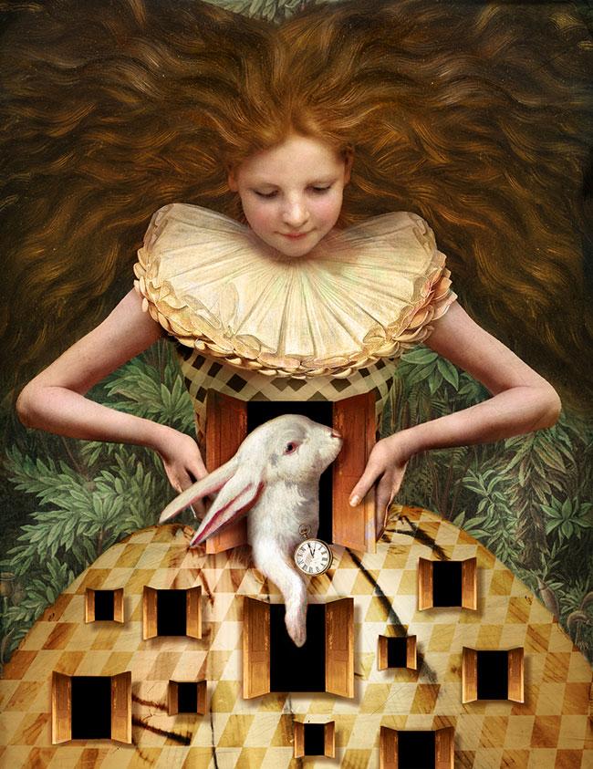 """Photomanipulation by Catrin Welz-Stein. """"Hello Alice"""" [Photomanipulation, Adobe Photoshop]"""
