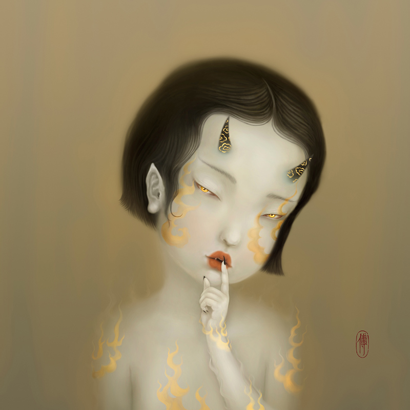 "Digital Painting by Sonya FU. ""Hush!"" [Digital Painting, Adobe Photoshop, Wacom tablet]"