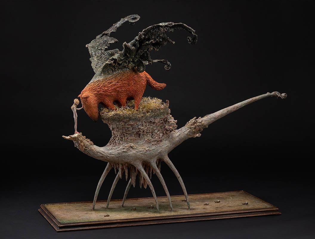 "Sculpture by Akishi Ueda. ""The Prayer of Sunset Dog"", Stone powder clay/ Acrylic paint/mixed media, 65cm x 85cm x 45cm"