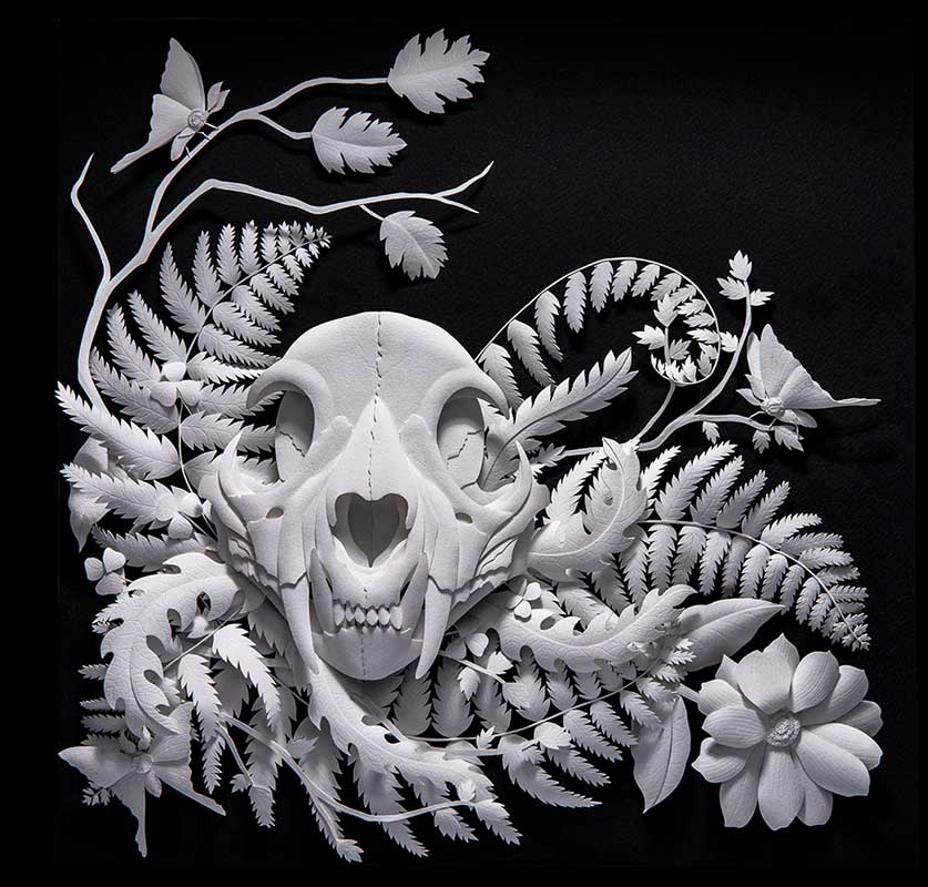 "Paper Sculpture by Marisa Argón Ware. ""Moonshadow"", Paper sculpture, 18"" x 24"" x 4"""