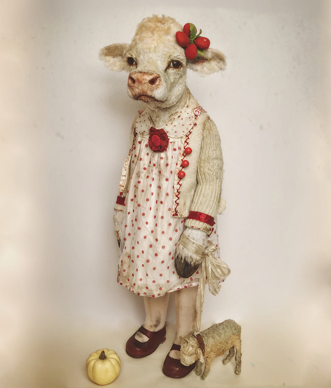 """Sculpture by Annie Montgomerie. """"Bonny Bove on her 8th Birthday"""", Textiles/Mixed Media, 23"""" x 6"""""""