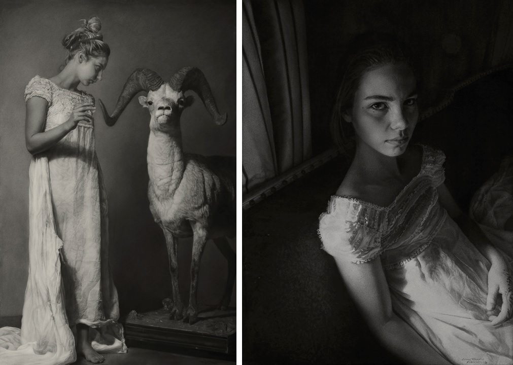 """Annie Murphy-Robinson's winning entry, """"Emily and the Ram (conjuring)"""" Sanded charcoal on paper, 65 x 42″"""