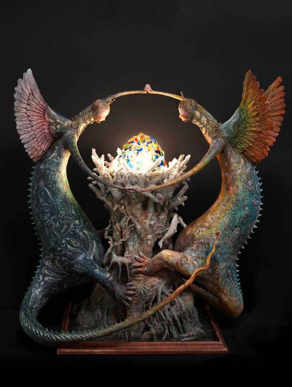 Akishi Ueda- two creatures surrounding orb - japanese sculptor - Art prize 2019 - sculpture award