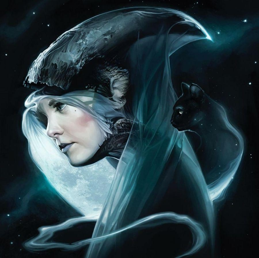 David Seidman - moon witch and black cat - digital painting