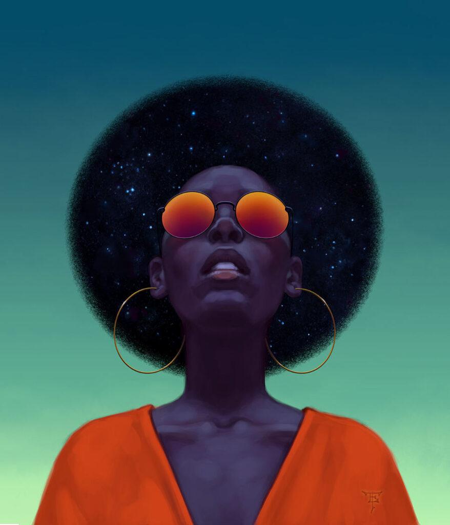 Tristan Elwell afro digital portrait