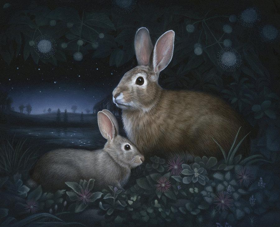 Susan McDonnell rabbits at night painting