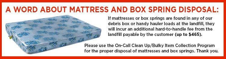 mattress and box spring disposal