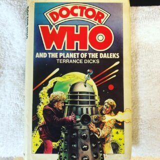 Doctor Who and the Planet of the Dalek. Hardcover by Allan Wingate published in September 1976 making this book 44 years old this month. This is an ex-library copy. Very hard to find in non-library condition. Can be valued at $300 for ex-library and $700+ for non-library with dust jacket in excellent condition. A much better story than the TV episode. #doctorwho #daleks #nicholasbriggs #jonpertweedoctorwho #allanwingate #doctorwhohardcovers #doctorwhohardbacks #doctorwhocollectors