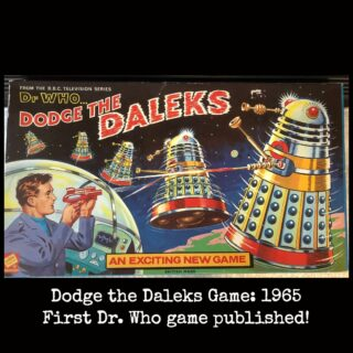 Dodge the Daleks Game: 1965. This is the first Dr. Who board game published and was very popular. Very hard to find intact with box, game board, and all pieces. Well, I have it in very good condition. There are three photos in the stream. More games were made over the years and I will present them in time. #doctorwho #doctorwhogames #doctorwhogame #doctorwhoboardgames #daleks #classicdoctorwho #doctorwhocollectors