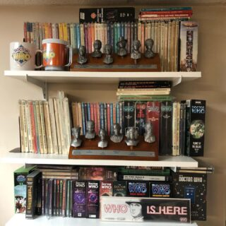 Another shelf in The Who Room with various items including Target Books, Pewter statues, and CD collections.  I have been collecting since 1981 or 40 years now.  Start small and build over time. #doctorwho