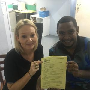 Gesa Joseph completing his last unit in his Certificate II in Community Pharmacy