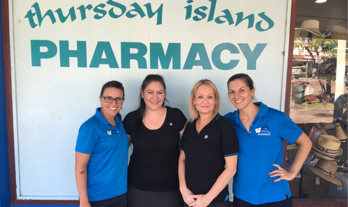 Caitlin Davies and Carli Berrill are two of the four pharmacists that work at Thursday Island Pharmacy LEFT TO RIGHT: Caitlin Davies, Guild Training Manager Deborah Scholz, Guild Trainer/Assessor Eloise Tombs and Carli Berrill