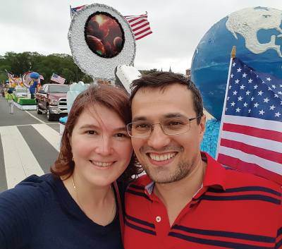 Ioana-Marius in front of 4th of July parade in D.C.