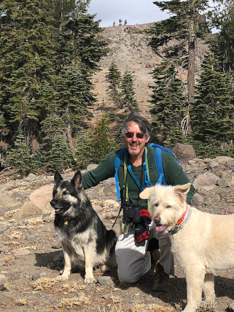John hiking in Truckee, CA with Stella & Sophie (dogs)