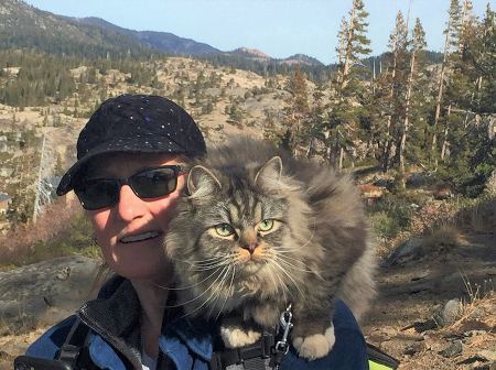 Kira hiking with Rema (cat) on the Pacific Crest Trail in the Sierras