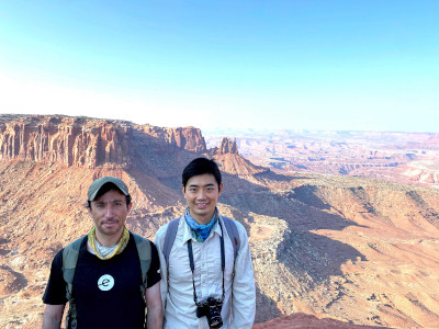 Neil and Rui in front of a canyon