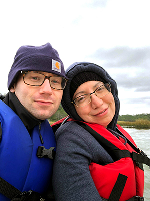 Nina and Ryan bundled up for fishing in cold