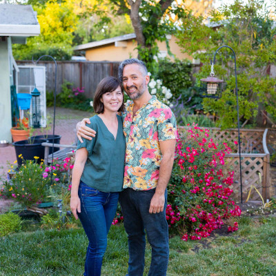 Rebecca and Anthony outside in their backyard