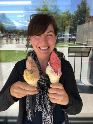 Rebecca holding two ice cream cones