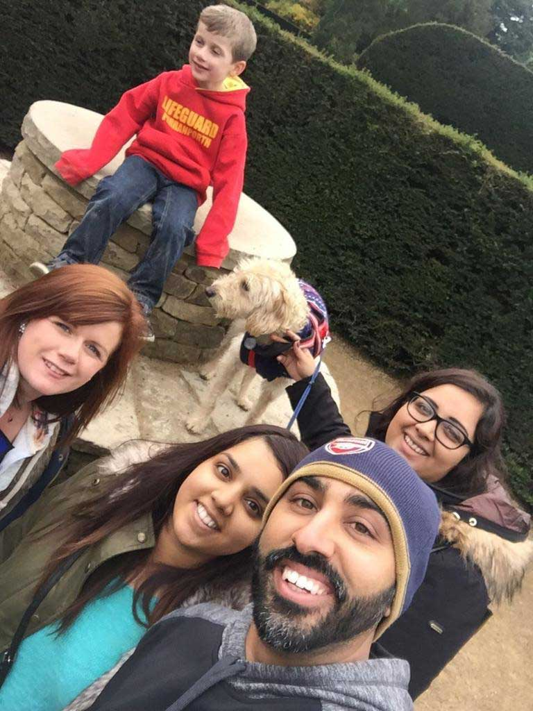 Sharon and Arminder with family in UK