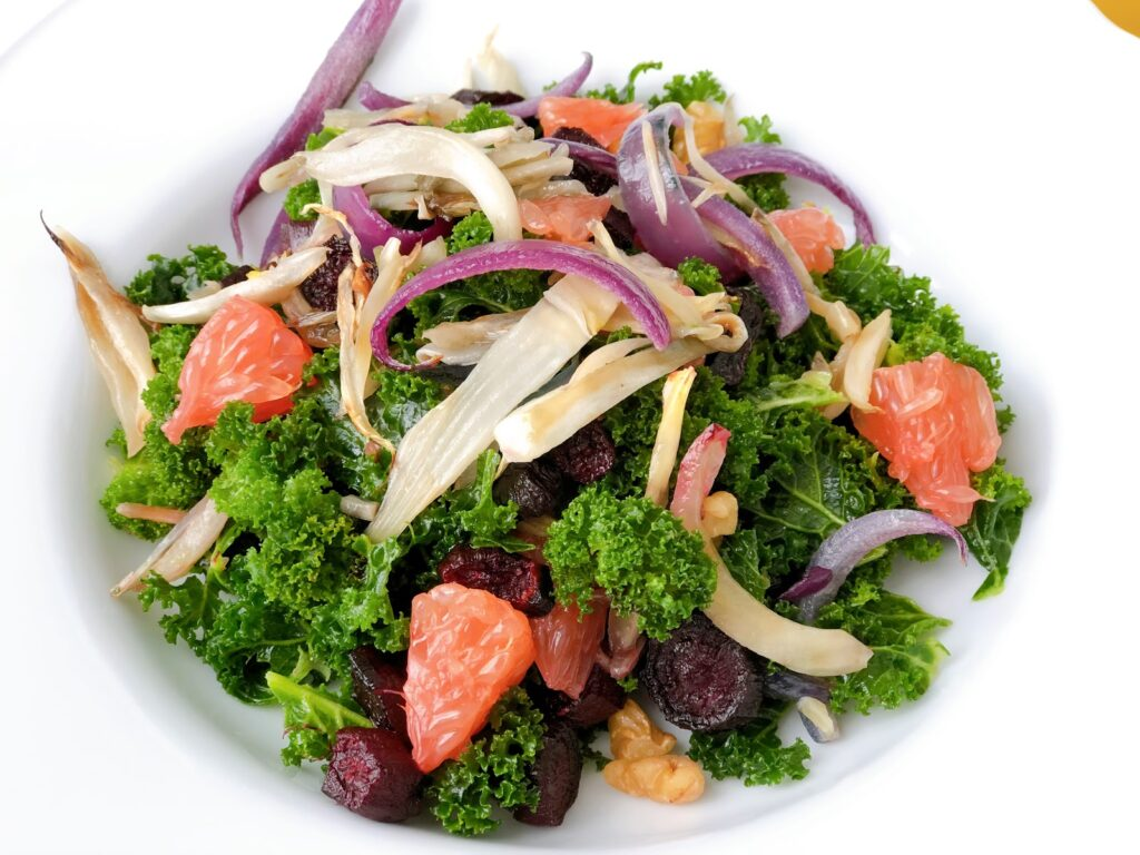 Kale Salad with Roasted Beets, Fennel and Red Onions