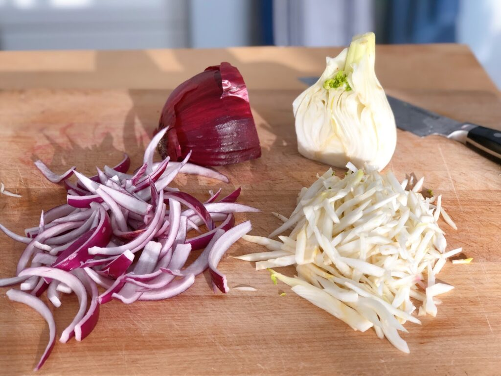 slivered red onion and fennel