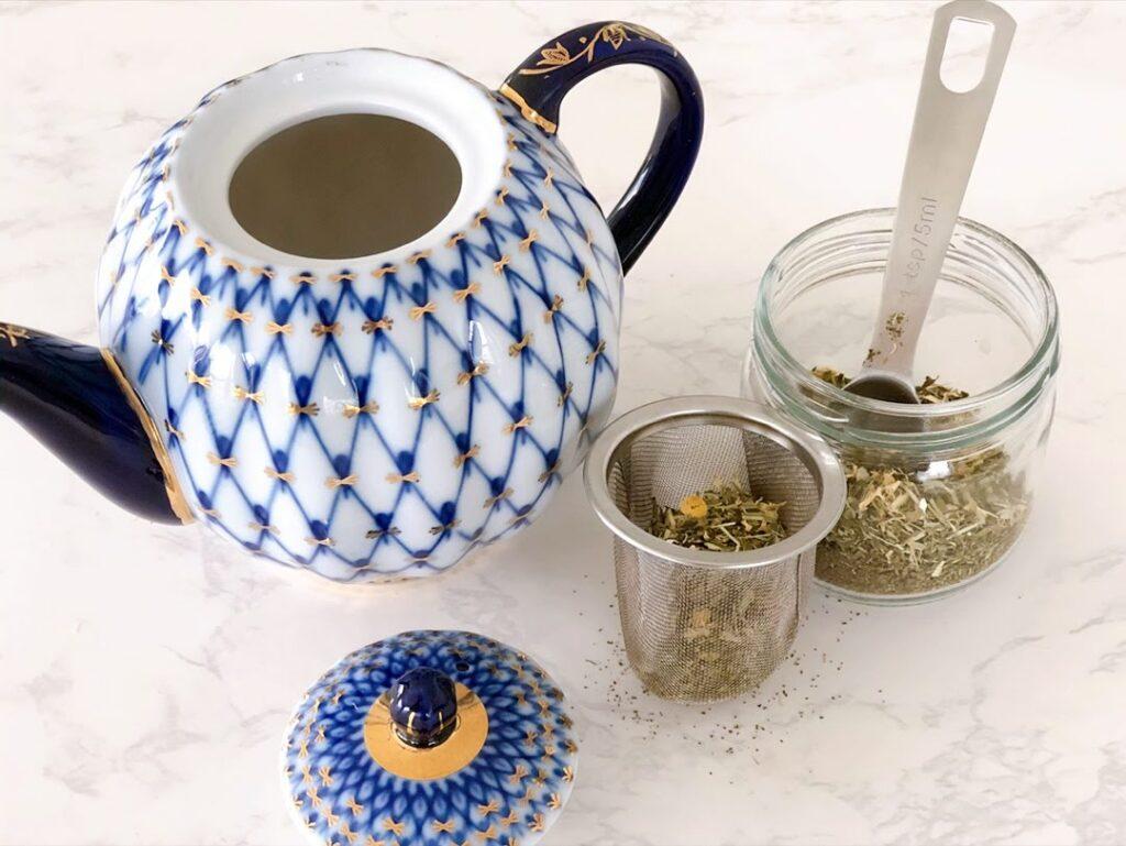 calming tea infusion mix and teapot