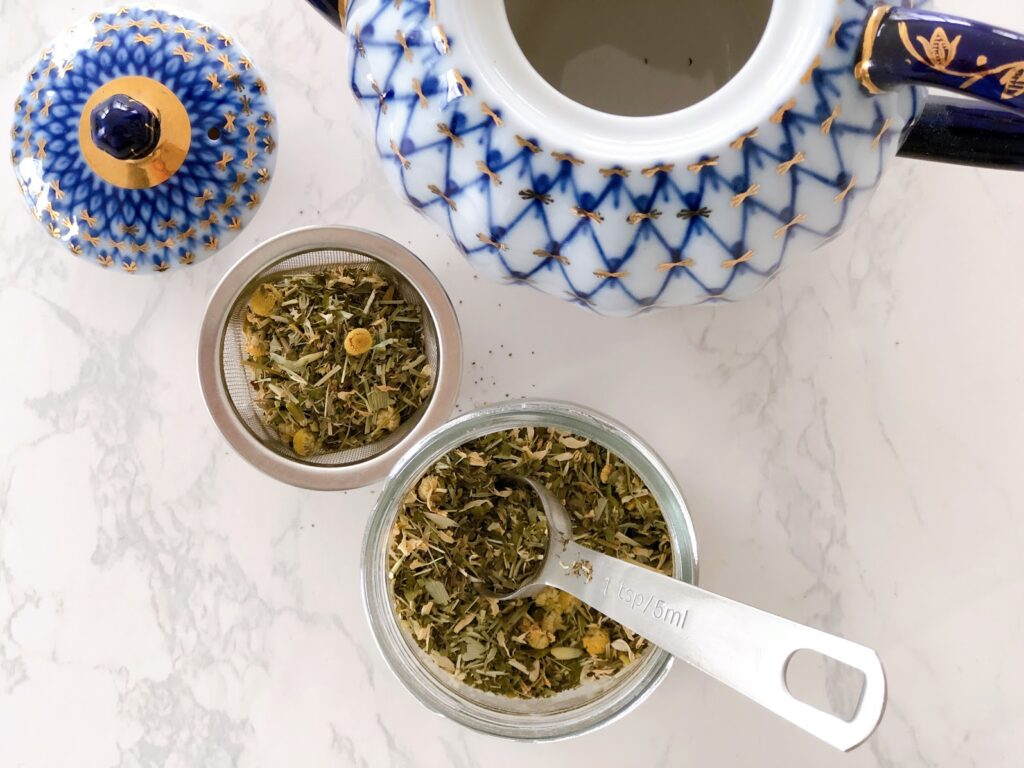 Overhead photo of calming tea infusion blend