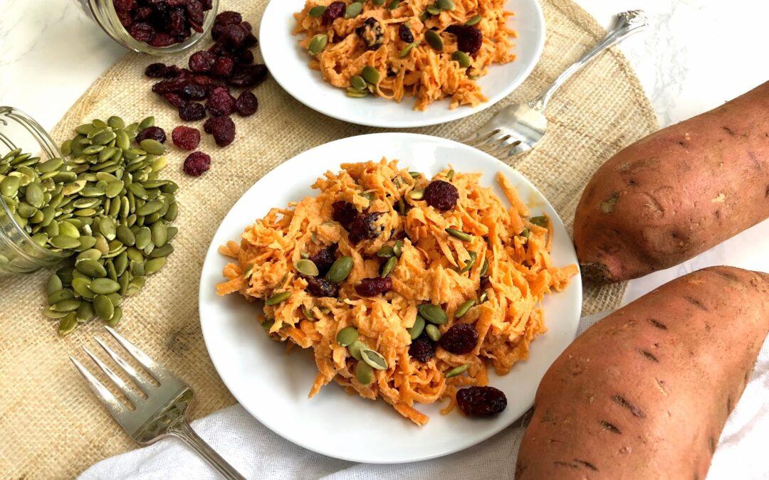 Sweet Potato Salad with Cranberries and Pumpkin Seeds