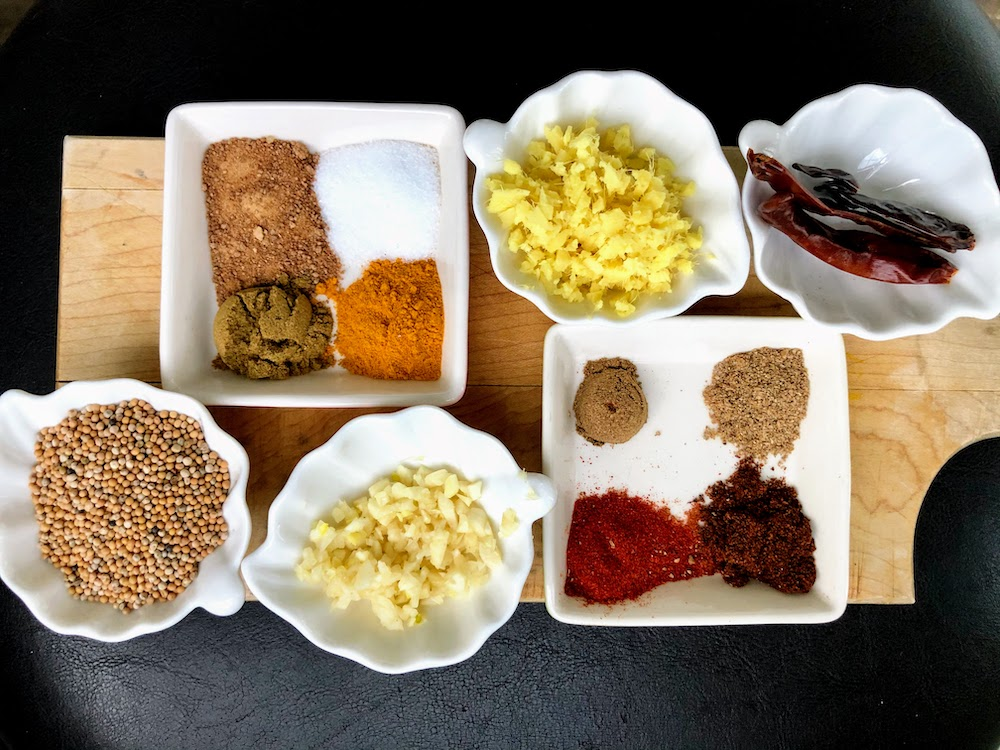 Spices for sweet potato, chickpea and lentil curry