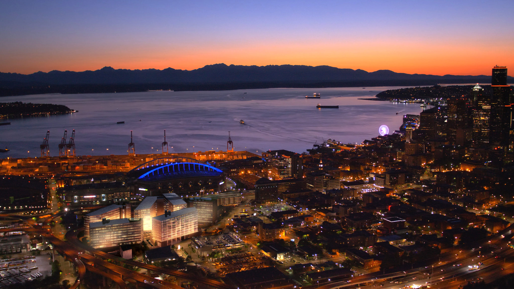 S Seattle Rendering Aerial View at Night