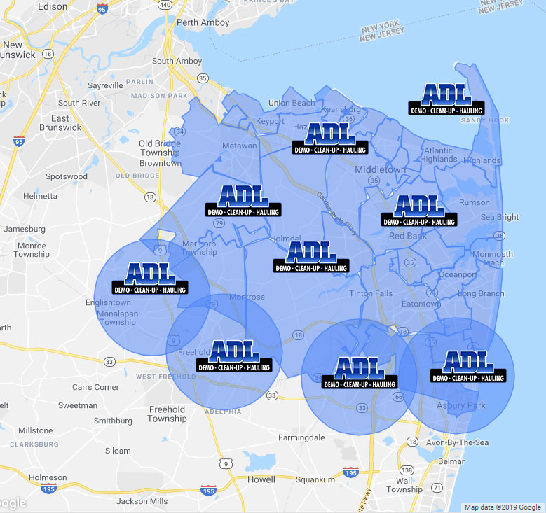 map of ADL servicing locations in Monmouth county