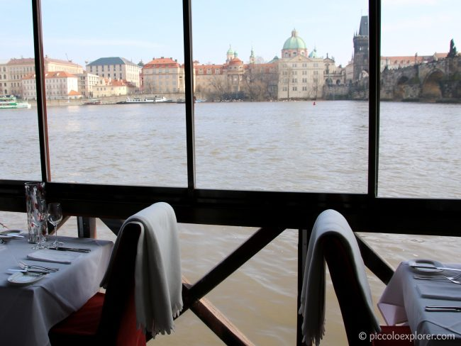 River view from Kampa Park Restaurant Prague