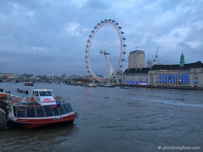 View of River Thames and South Bank from Westmister, London