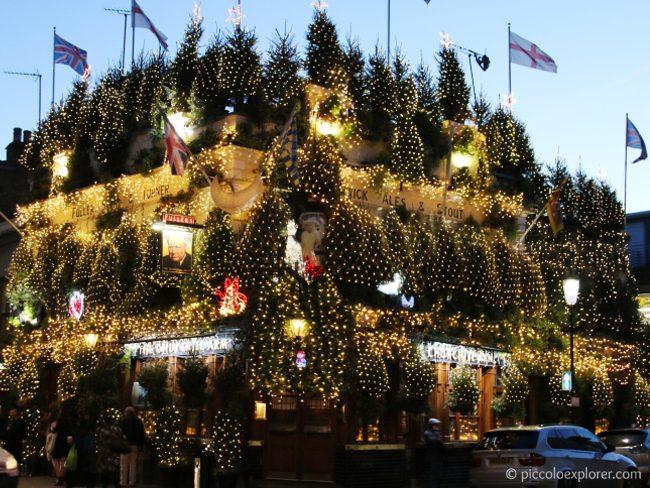 Churchill Arms, Christmas Lights, Kensington London