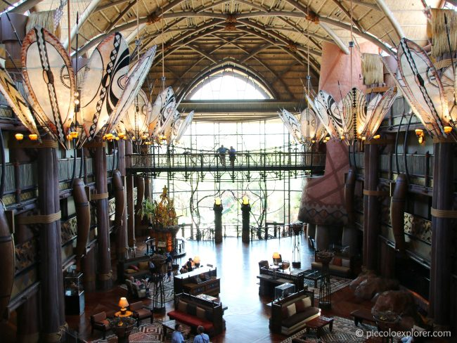 Lobby of Disney's Animal Kingdom Lodge resort hotel, Walt Disney World, Florida