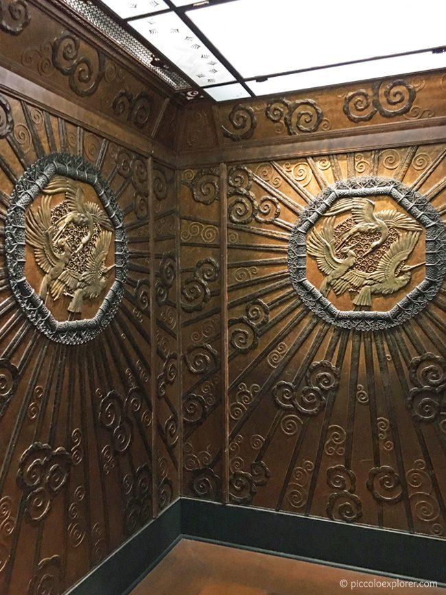 Selfridges gold elevator at the Museum of London