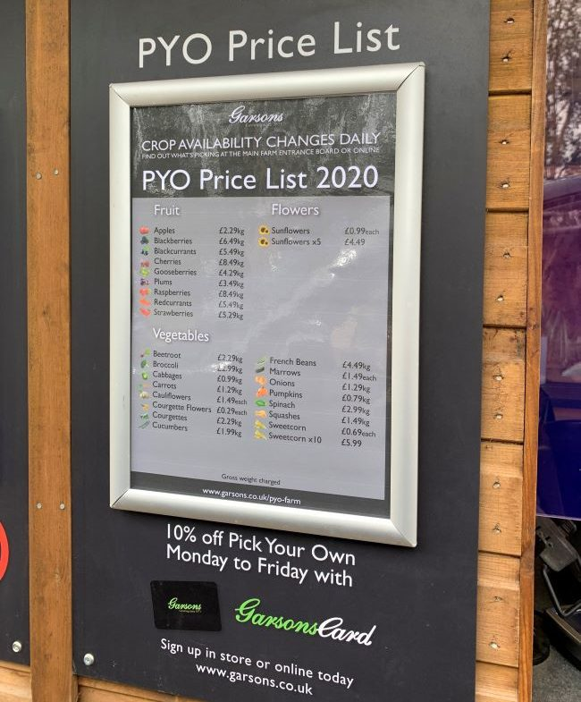 2020 Garsons Farm Price List