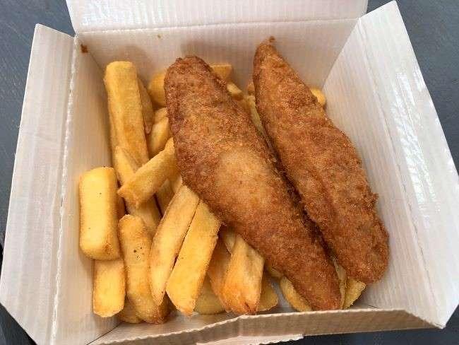 Fish goujons and chips at Hobbledown