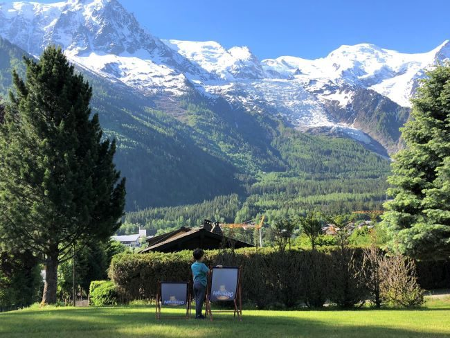 Mont Blanc range view from chalet